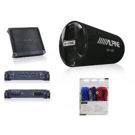 Set alpine subwoofer tub + amplificator auto 2 canale + kit cabluri