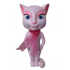 Pisica Talking Angela, Interactiva, Functii Tactile, Inregistrare, Vorbire, Cantec tip Serenada, Roz, 30cm