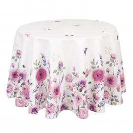 Fata de masa rotunda bumbac alb roz roses Ø 170 cm