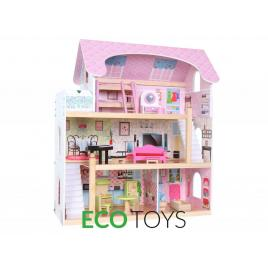 Jucarie tip casa mare din lemn pentru copii, 3 nivele cu 5 camere + accesorii, dimensiuni 63x71x30cm