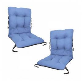 Set 2 perne sezut/spatar pentru scaun de gradina sau balansoar, 50x50x55 cm, culoare albastru