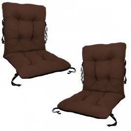 Set 2 perne sezut/spatar pentru scaun de gradina sau balansoar, 50x50x55 cm, culoare maro