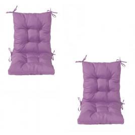 Set 2 perne sezut/spatar pentru scaun de gradina sau balansoar, 50x50x55 cm, culoare mov