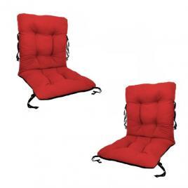Set 2 perne sezut/spatar pentru scaun de gradina sau balansoar, 50x50x55 cm, culoare rosu
