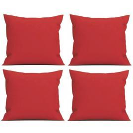 Set 4 perne decorative patrate, 40x40 cm, pentru canapele, plina cu puf mania relax, culoare rosu