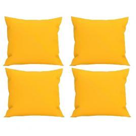 Set 4 perne decorative patrate, 40x40 cm, pentru canapele, pline cu puf mania relax, culoare galben