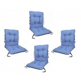 Set 4 perne sezut/spatar pentru scaun de gradina sau balansoar, 50x50x55 cm, culoare albastru