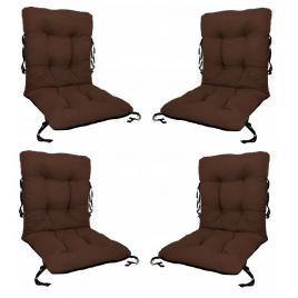 Set 4 perne sezut/spatar pentru scaun de gradina sau balansoar, 50x50x55 cm, culoare maro
