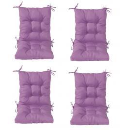Set 4 perne sezut/spatar pentru scaun de gradina sau balansoar, 50x50x55 cm, culoare mov
