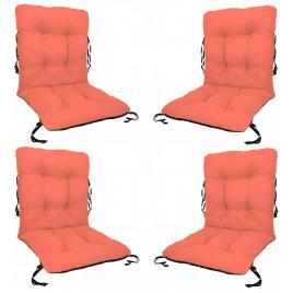 Set 4 perne sezut/spatar pentru scaun de gradina sau balansoar, 50x50x55 cm, culoare orange