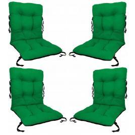 Set 4 perne sezut/spatar pentru scaun de gradina sau balansoar, 50x50x55 cm, culoare verde