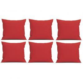 Set 6 perne decorative patrate, 40x40 cm, pentru canapele, plina cu puf mania relax, culoare rosu