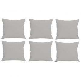Set 6 perne decorative patrate, 40x40 cm, pentru canapele, pline cu puf mania relax, culoare gri
