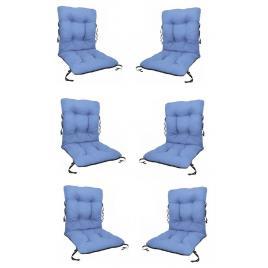 Set 6 perne sezut/spatar pentru scaun de gradina sau balansoar, 50x50x55 cm, culoare albastru