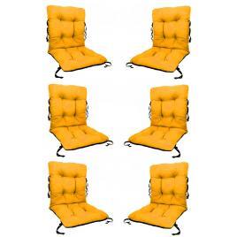 Set 6 perne sezut/spatar pentru scaun de gradina sau balansoar, 50x50x55 cm, culoare galben