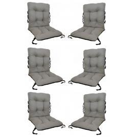 Set 6 perne sezut/spatar pentru scaun de gradina sau balansoar, 50x50x55 cm, culoare gri