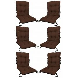 Set 6 perne sezut/spatar pentru scaun de gradina sau balansoar, 50x50x55 cm, culoare maro