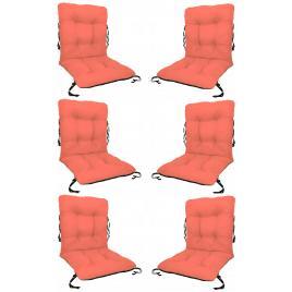 Set 6 perne sezut/spatar pentru scaun de gradina sau balansoar, 50x50x55 cm, culoare orange