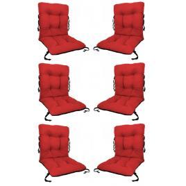 Set 6 perne sezut/spatar pentru scaun de gradina sau balansoar, 50x50x55 cm, culoare rosu