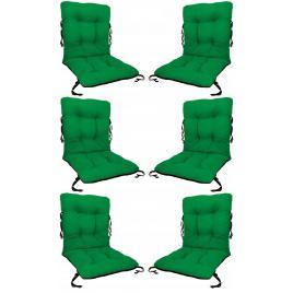 Set 6 perne sezut/spatar pentru scaun de gradina sau balansoar, 50x50x55 cm, culoare verde