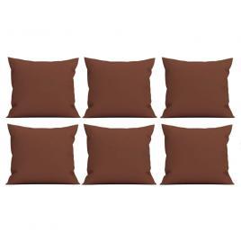Set 6 perne decorative patrate, 40x40 cm, pentru canapele, pline cu puf mania relax, culoare maro