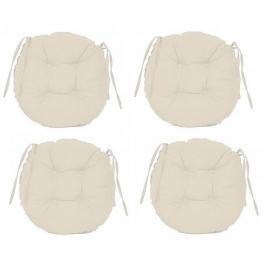 Set perne decorative rotunde, pentru scaun de bucatarie sau terasa, diametrul 35cm, culoare alb, 4 buc/set
