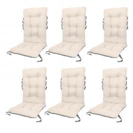 Set perne pentru scaun de gradina sau sezlong,  48x48x75cm, culoare alb, 6 buc/set