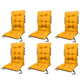 Set perne pentru scaun de gradina sau sezlong, 48x48x75cm, culoare galben, 6 buc/set