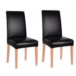 Set 2 huse scaun dining/bucatarie, imitatie piele si spandex, culoare negru