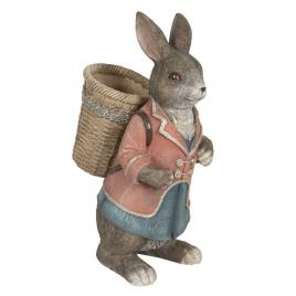 Figurina iepuras paste boy cu cosulet din polirasina maro 26 cm x 19 cm x 40 h