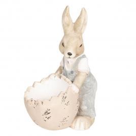 Figurina iepuras paste boy cu ou roz 30 cm x 23 cm x 48 h