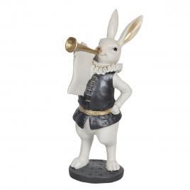 Figurina iepuras paste boy din polirasina alb negru 12 cm x 12 cm x 29 h