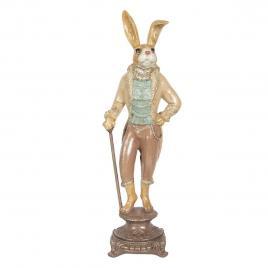 Figurina iepuras paste boy din polirasina maro 14 cm x 11 cm x 44 h