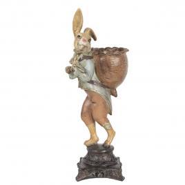 Figurina iepuras paste boy din polirasina maro 15 cm x 13 cm x 41 h