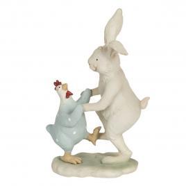 Figurina iepuras si gaina paste din polirasina 12 cm x 7 cm x 19 h