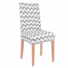 Husa scaun dining/bucatarie, din spandex, model zig-zag, culoare gri/alb