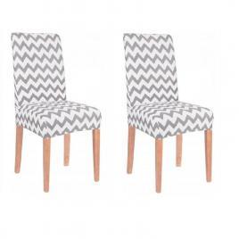 Set 2 huse scaun dining/bucatarie, din spandex, model zig-zag, culoare gri/alb