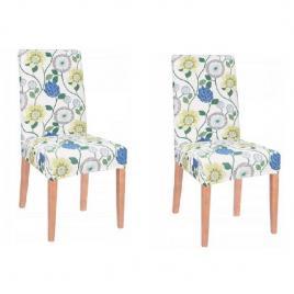 Set 2 huse scaun dining/bucatarie, din spandex, model floral, multicolor
