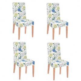 Set 4 huse scaun dining/bucatarie, din spandex, model floral, multicolor