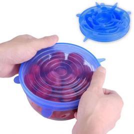 Set 6 Capace Albastre si flexibile din silicon pentru vase/recipiente