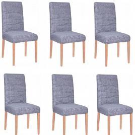 Set 6 huse scaun dining/bucatarie, din spandex, culoare albastru