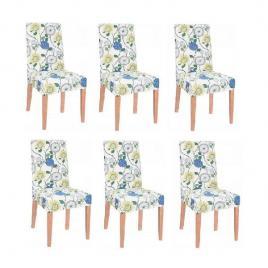 Set 6 huse scaun dining/bucatarie, din spandex, model floral, multicolor