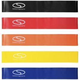 Set 5 benzi elastice circulare pentru antrenament, SMJ EX003, 60 cm, rezistente variate, husa inclusa, multicolor