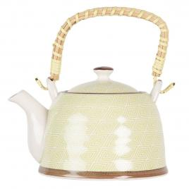 Ceainic din portelan alb verde 18 cm x 14 cm x 12 h / 0.7 l