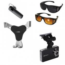 Kit auto: camera auto full hd 1080 + suport telefon + casca cu bluetooth + 2 ochelari de condus