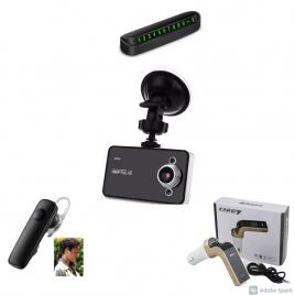 Kit auto: camera video + modulator fm + suport numar telefon + casca bluetooth
