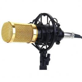 Microfon profesional bm800, cu inregistrare vocala si karaoke, gold negru