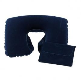 Perna voiaj confortabila, gonflabila, din catifea, pentru calatorie, albastra