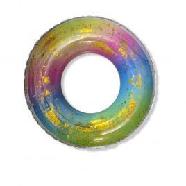 Colac inot gonflabil curcubeu cu sclipici diametru 70 cm DEK5070