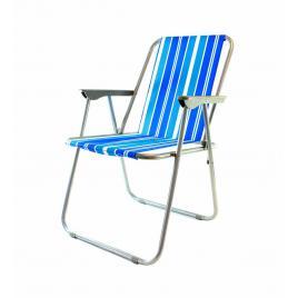 Scaun pliabil pentru interior sau exterior, cu cotiere, capacitate 100kg, culoare alb/albastru